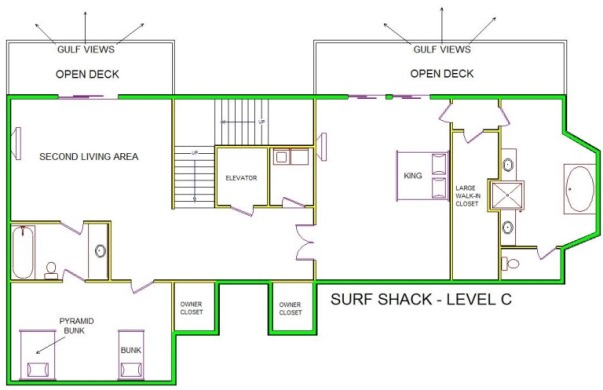 A level C layout view of Sand 'N Sea's beachfront house vacation rental in Galveston named Surf Shack