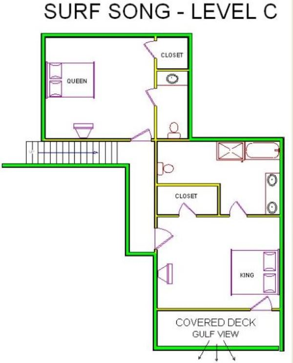 A level C layout view of Sand 'N Sea's beachfront house vacation rental in Galveston named Surf Song