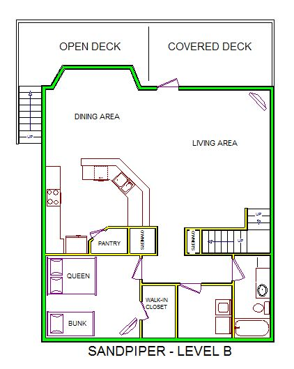 A level B revised layout view of Sand 'N Sea's beachside house vacation rental in Galveston named Sandpiper
