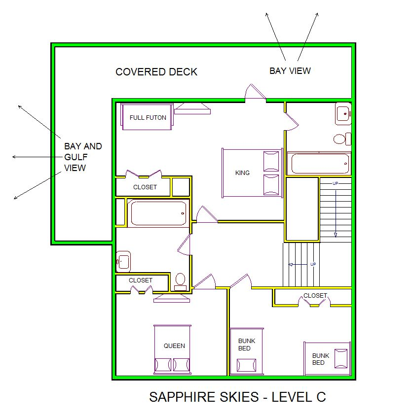 A level C layout view of Sand 'N Sea's beachside with gulf view house vacation rental in Galveston named Sapphire Skies