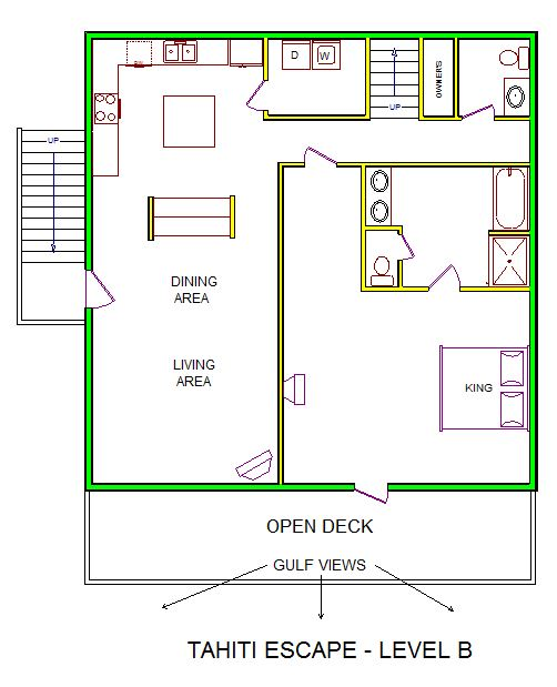 A level B layout view of Sand 'N Sea's beachfront house vacation rental in Galveston named Tahiti Escape
