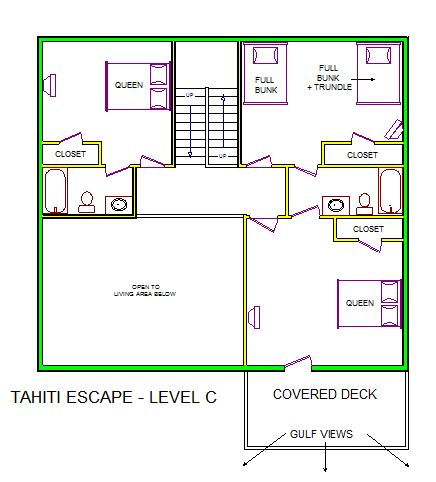A level C layout view of Sand 'N Sea's beachfront house vacation rental in Galveston named Tahiti Escape