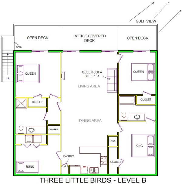 A level B layout view of Sand 'N Sea's beachside house vacation rental in Galveston named Three Little Birds
