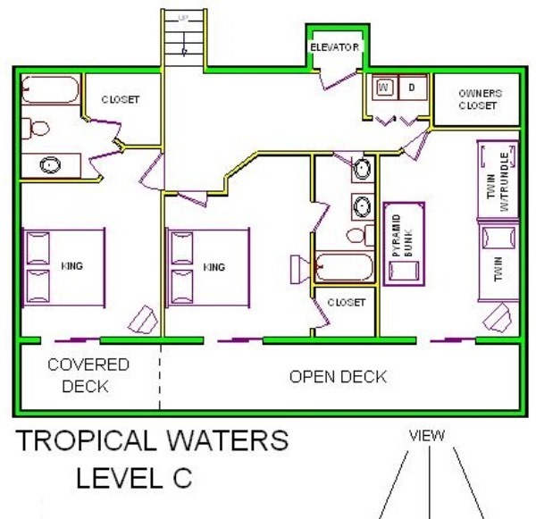 A level C layout view of Sand 'N Sea's beachfront house vacation rental in Galveston named Tropical Waters