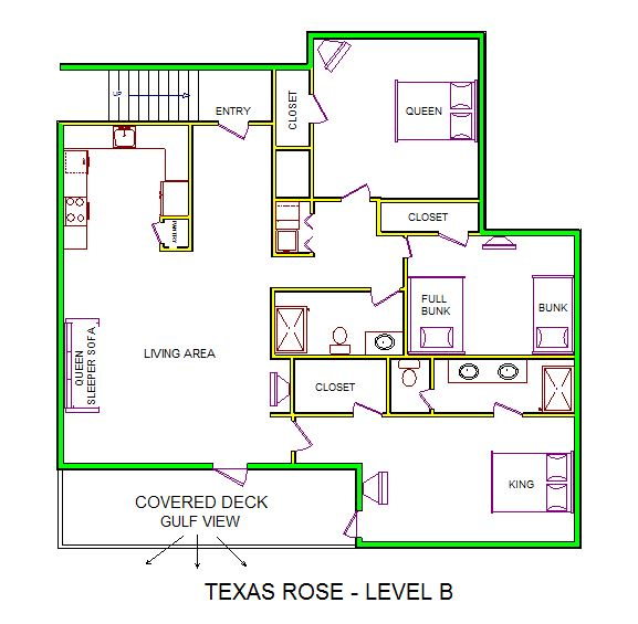 A level B layout view of Sand 'N Sea's beachfront house vacation rental in Galveston named Texas Rose