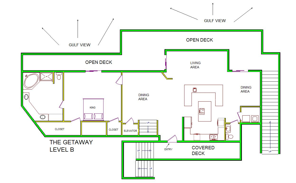 A level B layout view of Sand 'N Sea's beachfront house vacation rental in Galveston named The Getaway