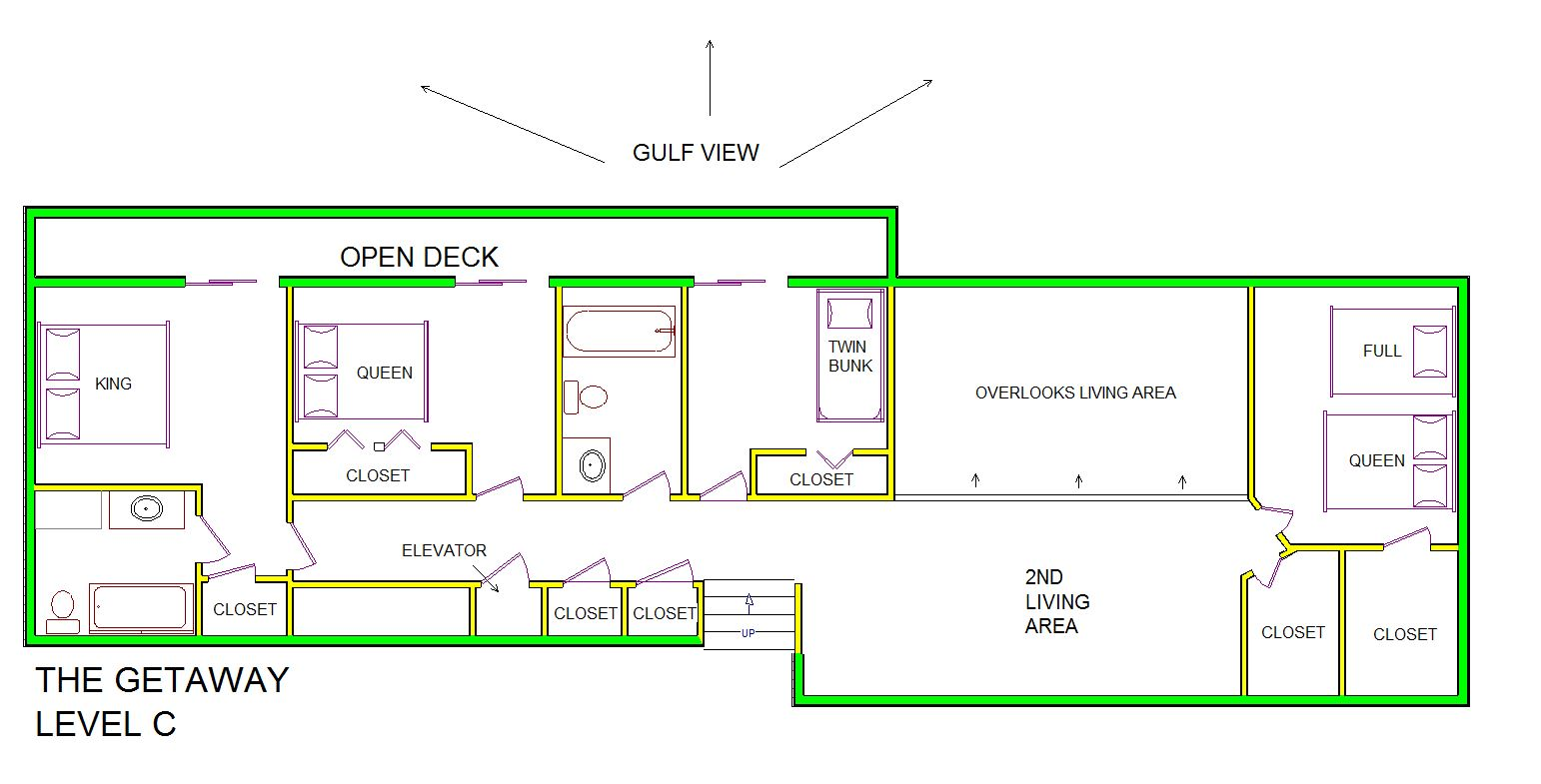 A level C layout view of Sand 'N Sea's beachfront house vacation rental in Galveston named The Getaway
