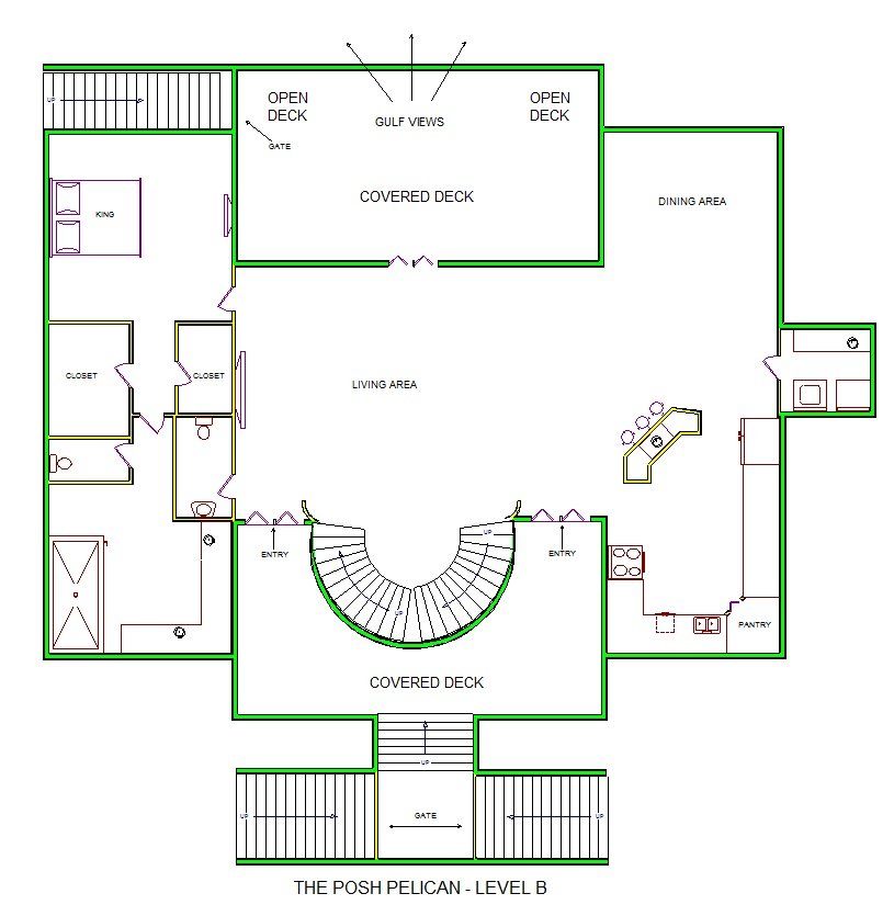 A level B layout view of Sand 'N Sea's beachfront house vacation rental in Galveston named The Posh Pelican