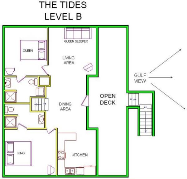 A level B layout view of Sand 'N Sea's beachside with gulf view house vacation rental in Galveston named The Tides