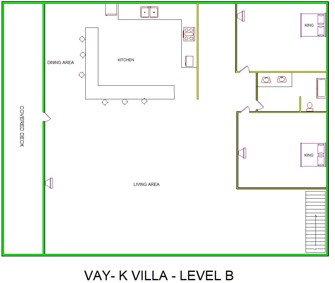 A level B layout view of Sand 'N Sea's beachside house vacation rental in Galveston named Vay-K Villa