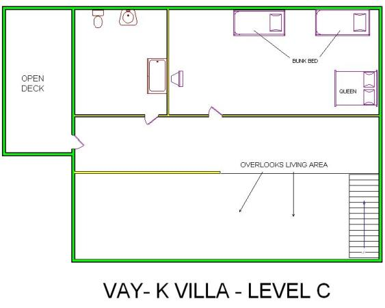 A level C layout view of Sand 'N Sea's beachside house vacation rental in Galveston named Vay-K Villa