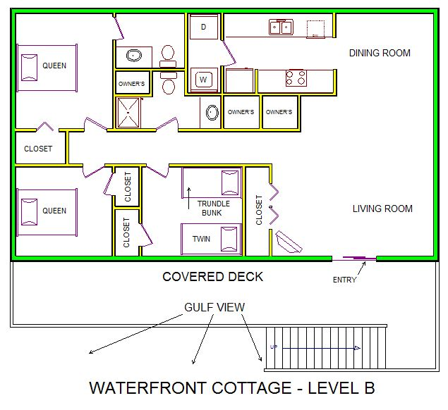 A level B layout view of Sand 'N Sea's beachfront house vacation rental in Galveston named Waterfront Cottage