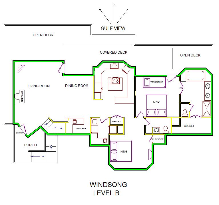 A level B layout view of Sand 'N Sea's beachfront house vacation rental in Galveston named Windsong
