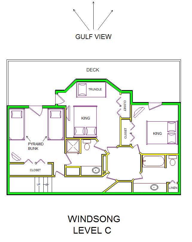 A level C layout view of Sand 'N Sea's beachfront house vacation rental in Galveston named Windsong