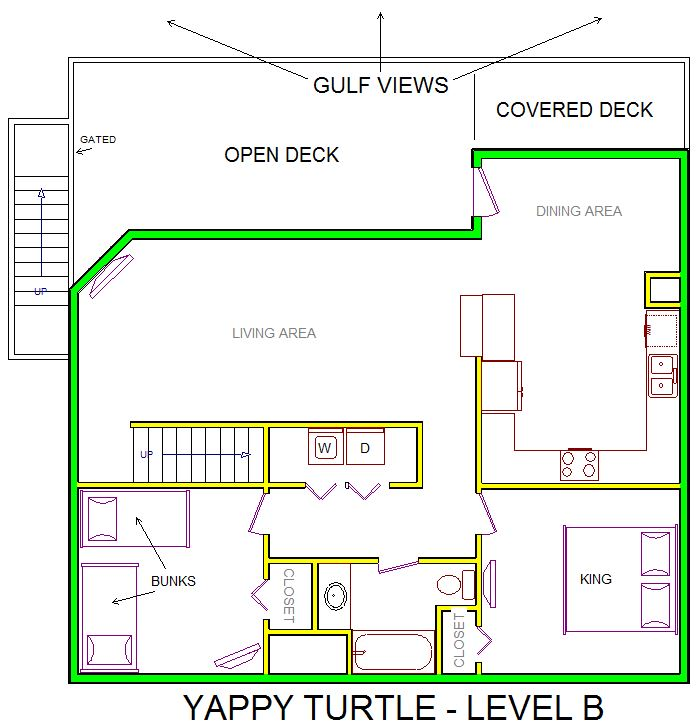 A level B layout view of Sand 'N Sea's beachfront house vacation rental in Galveston named Yappy Turtle