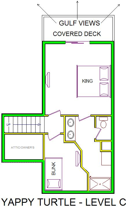 A level C layout view of Sand 'N Sea's beachfront house vacation rental in Galveston named Yappy Turtle