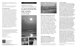 brochure of driving tour points of interest at galveston island state park