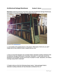 architectural salvage warehouse galveston worksheet for students