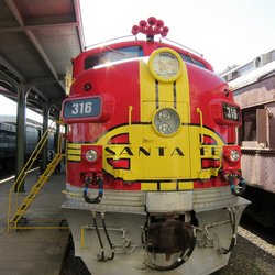 red and yellow santa fe train at the Galveston Railroad Museum