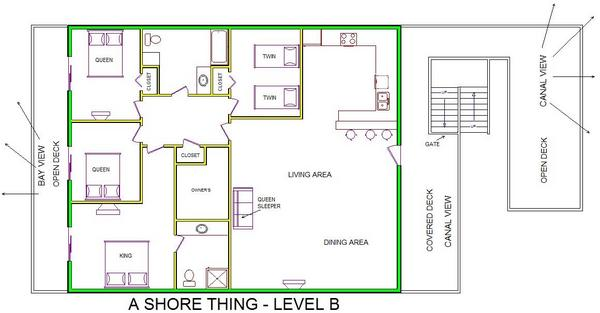 A level B layout view of Sand 'N Sea's canal house vacation rental in Galveston named A Shore Thing