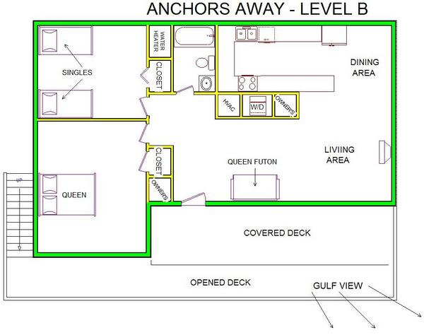 A level B layout view of Sand 'N Sea's beachside with gulf view house vacation rental in Galveston named Anchors Away