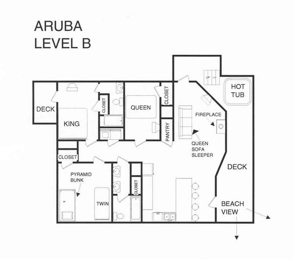 A level B layout view of Sand 'N Sea's beachside house vacation rental in Galveston named Aruba