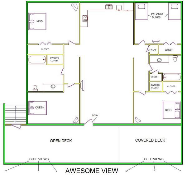 A level B layout view of Sand 'N Sea's beachfront house vacation rental in Galveston named Awesome View