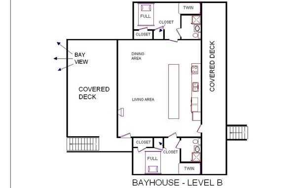 A level B layout view of Sand 'N Sea's bayfront house vacation rental in Galveston named Bay House
