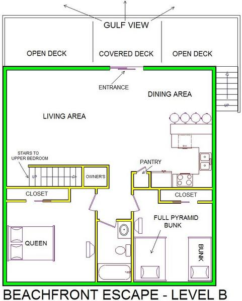A level B layout view of Sand 'N Sea's beachfront house vacation rental in Galveston named Beachfront Escape
