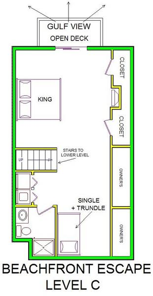 A level C layout view of Sand 'N Sea's beachfront house vacation rental in Galveston named Beachfront Escape
