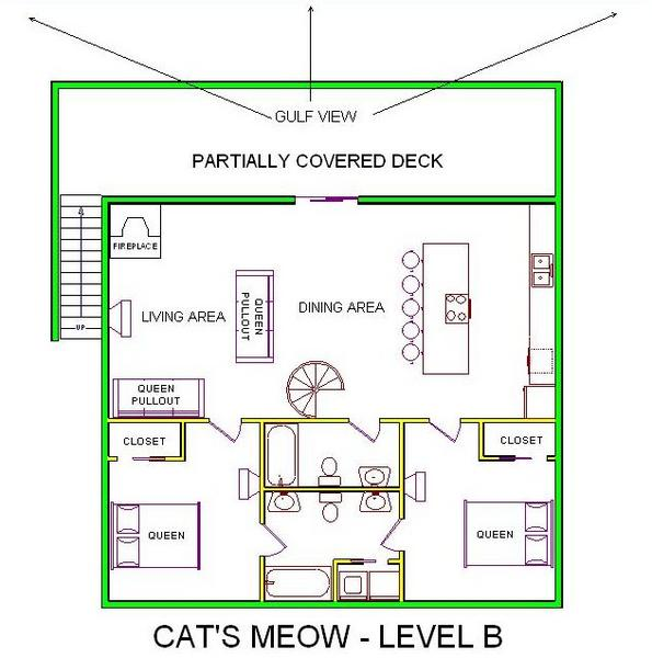 A level B layout view of Sand 'N Sea's beachfront house vacation rental in Galveston named Cat's Meow