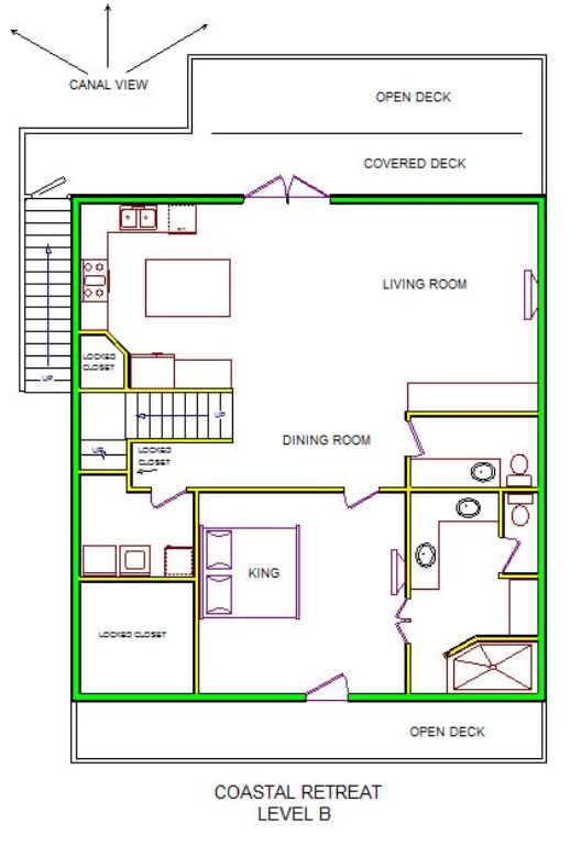 A level B layout view of Sand 'N Sea's canal house vacation rental in Jamaica Beach Galveston named Coastal Retreat