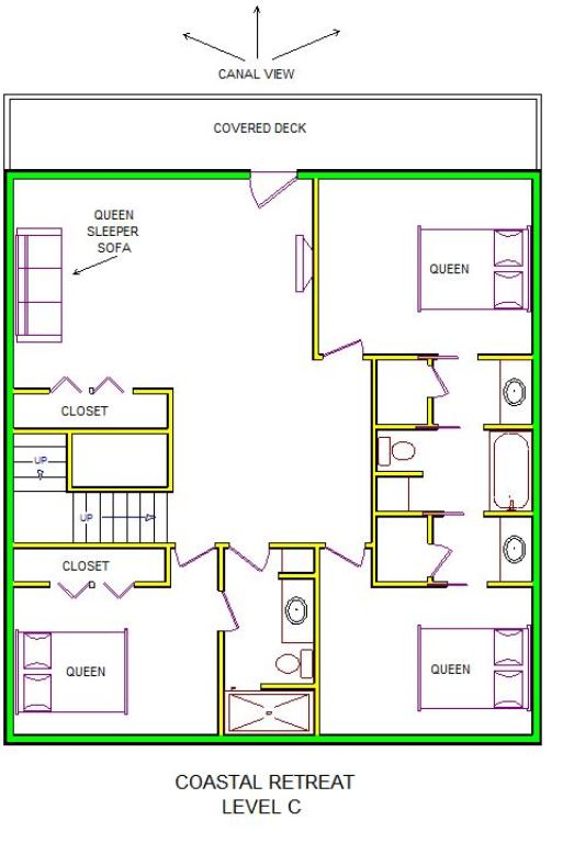 A level C layout view of Sand 'N Sea's canal house vacation rental in Jamaica Beach Galveston named Coastal Retreat
