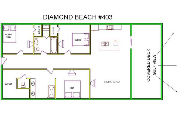 A floor plan view of Sand 'N Sea's beachfront condo/townhouse vacation rental in Galveston named Diamond Beach 403