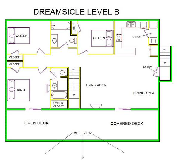 A level B layout view of Sand 'N Sea's beachfront house vacation rental in Galveston named Dreamsicle
