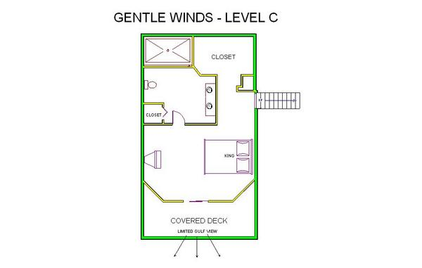 A level C layout view of Sand 'N Sea's beachside house vacation rental in Galveston named Gentle Winds