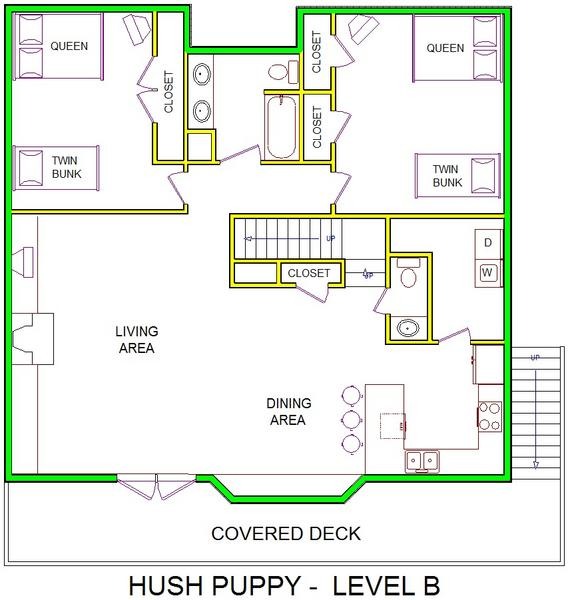 A level B layout view of Sand 'N Sea's beachside house vacation rental in Galveston named Hush Puppy