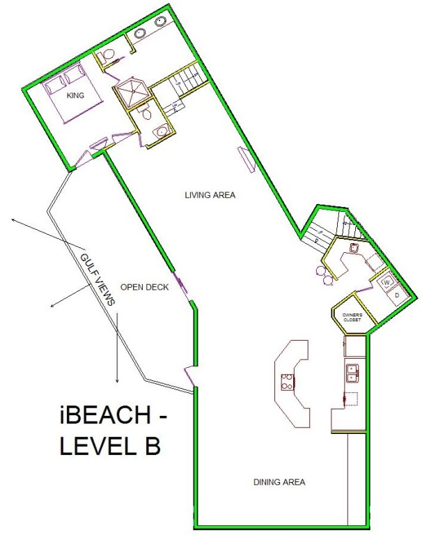 A level B layout view of Sand 'N Sea's beachfront house vacation rental in Galveston named iBeach