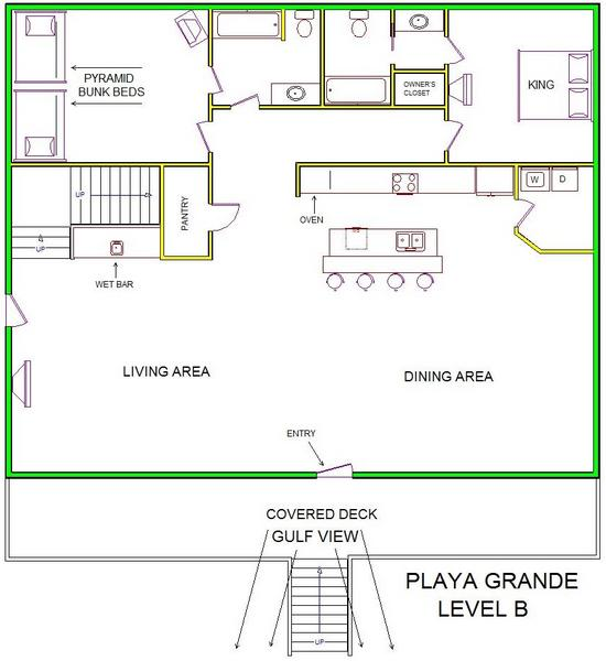 A level B layout view of Sand 'N Sea's beachside with gulf view house vacation rental in Galveston named Playa Grande
