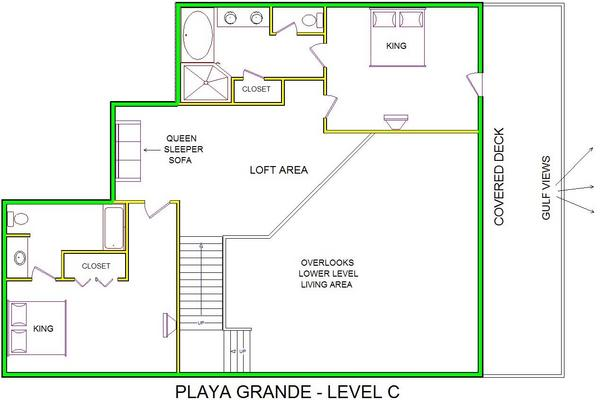A level C layout view of Sand 'N Sea's beachside with gulf view house vacation rental in Galveston named Playa Grande