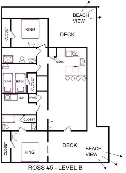 A level B layout view of Sand 'N Sea's beachside house vacation rental in Galveston named Ross 5