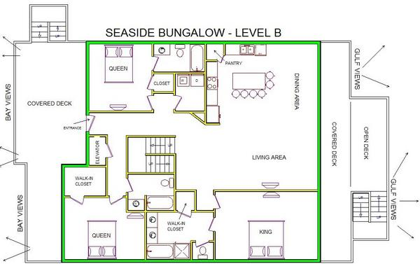 A level B layout view of Sand 'N Sea's beachfront house vacation rental in Galveston named Seaside Bungalow