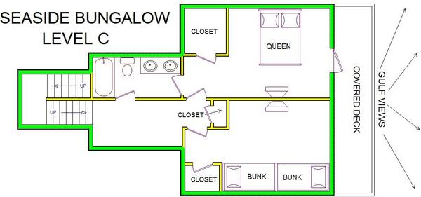 A level C layout view of Sand 'N Sea's beachfront house vacation rental in Galveston named Seaside Bungalow
