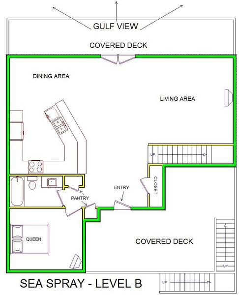 A level B layout view of Sand 'N Sea's beachfront house vacation rental in Galveston named Sea Spray