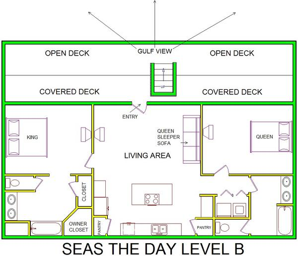 A level B layout view of Sand 'N Sea's beachfront house vacation rental in Galveston named Seas The Day