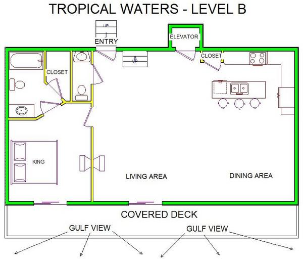 A level B layout view of Sand 'N Sea's beachfront house vacation rental in Galveston named Tropical Waters