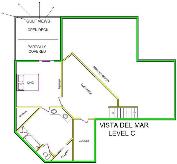 A level C layout view of Sand 'N Sea's beachfront house vacation rental in Galveston named Vista Del Mar